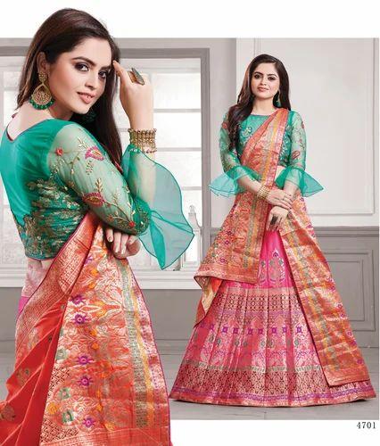 1702716952c Hot Pink Banarasi Silk Lehenga With Designer Green Choli. Get Best Quote