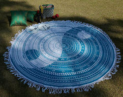 Yin Yang Pom Pom Lace Work Printed Beach Mats