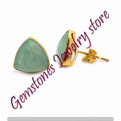 Aqua Chalcedony Gemstone Stud Earring