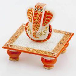 Marble Painting Chowki Ganesha
