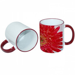 Maroon Rim Handle Mug