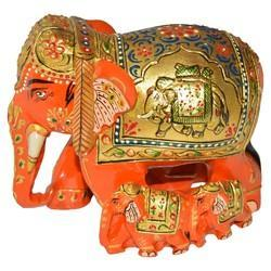 Wooden Elephant With Painted Elephant Statue