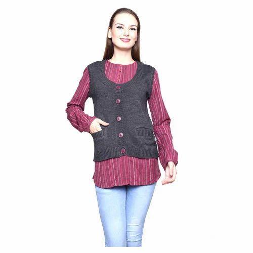 815c555e456d1 Womens Sweater - Ladies Cardigan Sleeveless Sweater Manufacturer ...