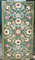 Green Stone Inlay Dining Table Top