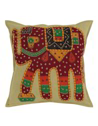 Green And Maroon Elephant Patch Work Cotton Cushion Cover