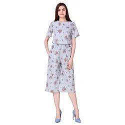 Floral Printed Culotte Set Dress