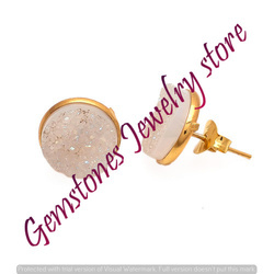 White Druzy Gemstone Ear Stud