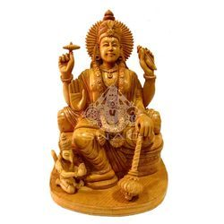 Natural Wooden Vishnu Carving Statue