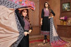 Collar Neck Sullu Salwar Suit Fabric
