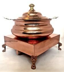 Copper Hammered Hyatt Handi Chowki Set