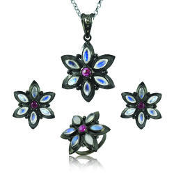 d053e8490 Diamond Jewelry - 925 Sterling Silver Diamond Garnet Rainbow ...