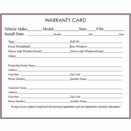 warranty cards