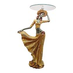 Lady with Glass Top Table Statue/ Showpiece Decorative Gift