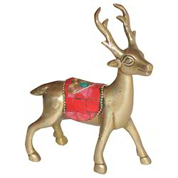 Brass Deer With Stone Work