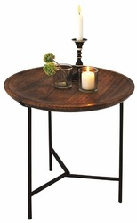 Natural/Black Round Wood Moroccan Table