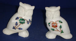 White Marble Inlay Owls