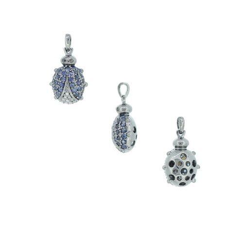 Diamond Sapphire Ladybug Pendant