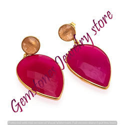Peach Chalcedony Earring