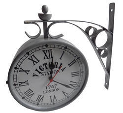 Double Sided Wall Hanging Metal Clock
