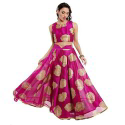 Ira-Soleil-Pink-Skirt-Printed-With-Gold-Tinsel-Print