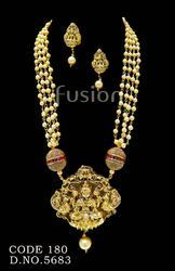 Pearl Beaded Temple Necklace Set