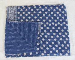Kantha Indigo Printed Bed Cover