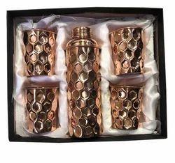 CopperKing Gift Set Diamond Fanta Bottle With 4 Glass