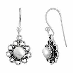 Crimson Kiss 925 Sterling Silver Pearl Earrings