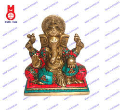 Lord Ganesh Sitting W/Double Pillow W/Stone Work Statue