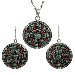 Coral And Turquoise Gemstone Silver Jewelry Set