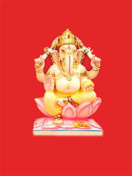 Colorful Ganesha Marble Moorti