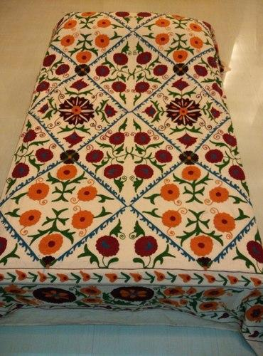 Bed Cover Cotton Suzani Embroidery Hand Work
