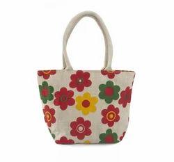Jute Floral Print Bag