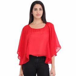 Cottinfab Women's Solid Poncho Top