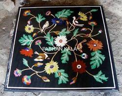 Black Marble Inlay Coffee Table Top