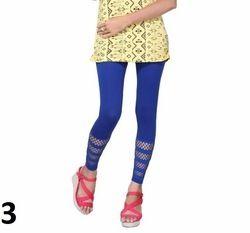 Blue Printed Cotton Lycra Leggings