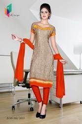 Beige and Orange Italian Crepe Uniform Salwar Kameez