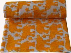 Indian Hand Block Printed 100 % Cotton Fabric Sanganeri Animal Print