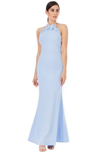 82aba3c8 Halter Neck Maxi With Flower Detail - Powder Blue & Backless Sequin Maxi  Dress Wholesale Sellers from New Delhi