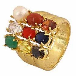 Designer Unisex Party Wear Synthetic Navratan/Navgrah Brass Ring