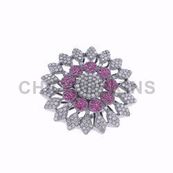 Ruby Diamond Floral Cocktail Ring