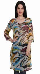 Chiffon Multicolor Printed Embellished Kurti