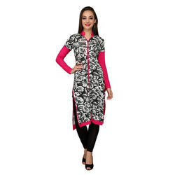 Ira Soleil White & Pink Printed Viscose Knitted Stretchable