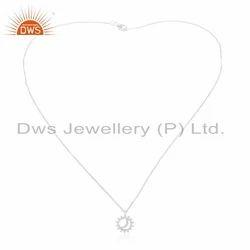 Indian Sterling Fine Silver Sun & Moon Design Chain Pendant Jewelry Supplier