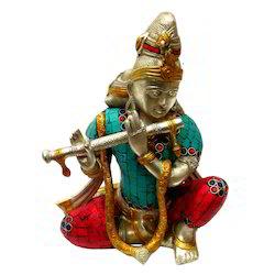 Brass Krishna Statue With Gemstone Work