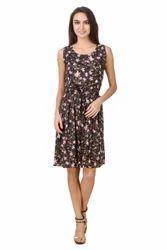 Floral Print Cotton Short Dress