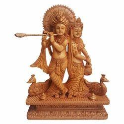 Natural Wooden Radha Krishna Statue