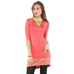 Ira Soleil Pink Block Printed Viscose Knitted Stretchable