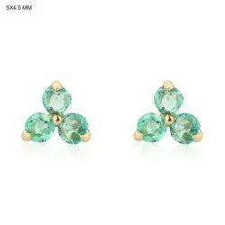 Natural Emerald Gemstone Gold Tiny Stud Earrings