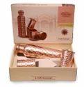 CopperKing Gift Set _ Hammered Dholak Glass & Copper Bottle